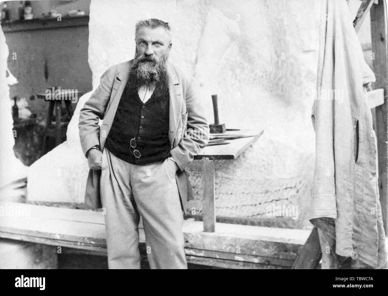 Auguste Rodin, In his Studio, portrait photograph, 1898 - Stock Image