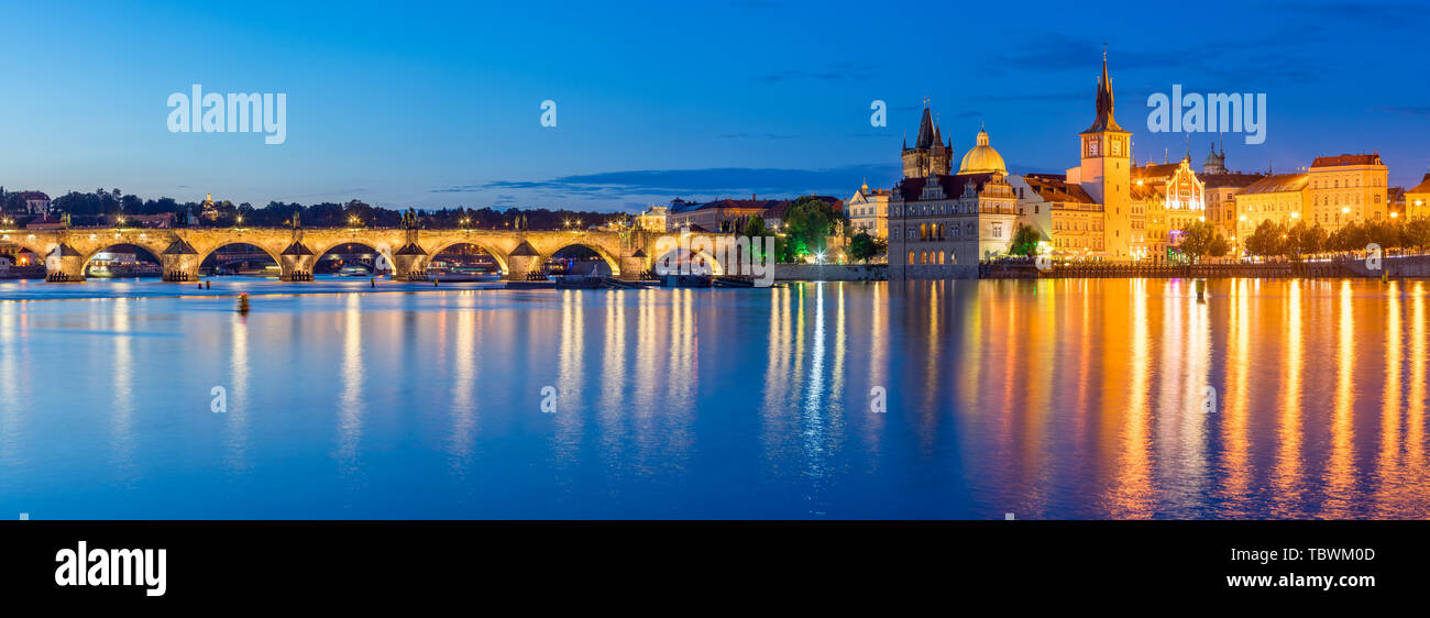 Night on the River Vltava in the Czech capital city of Prague. Czech Republic Stock Photo