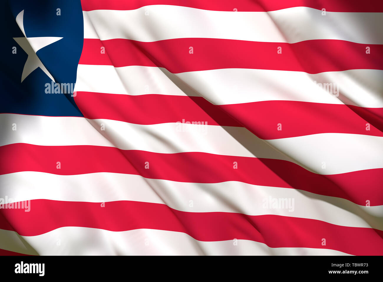 3d rendering of a Liberia national flag waving - Stock Image