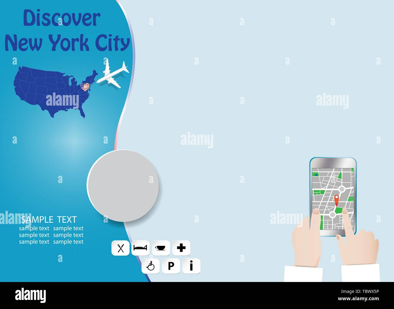 Discover New York City concept with plane flying over map of ...