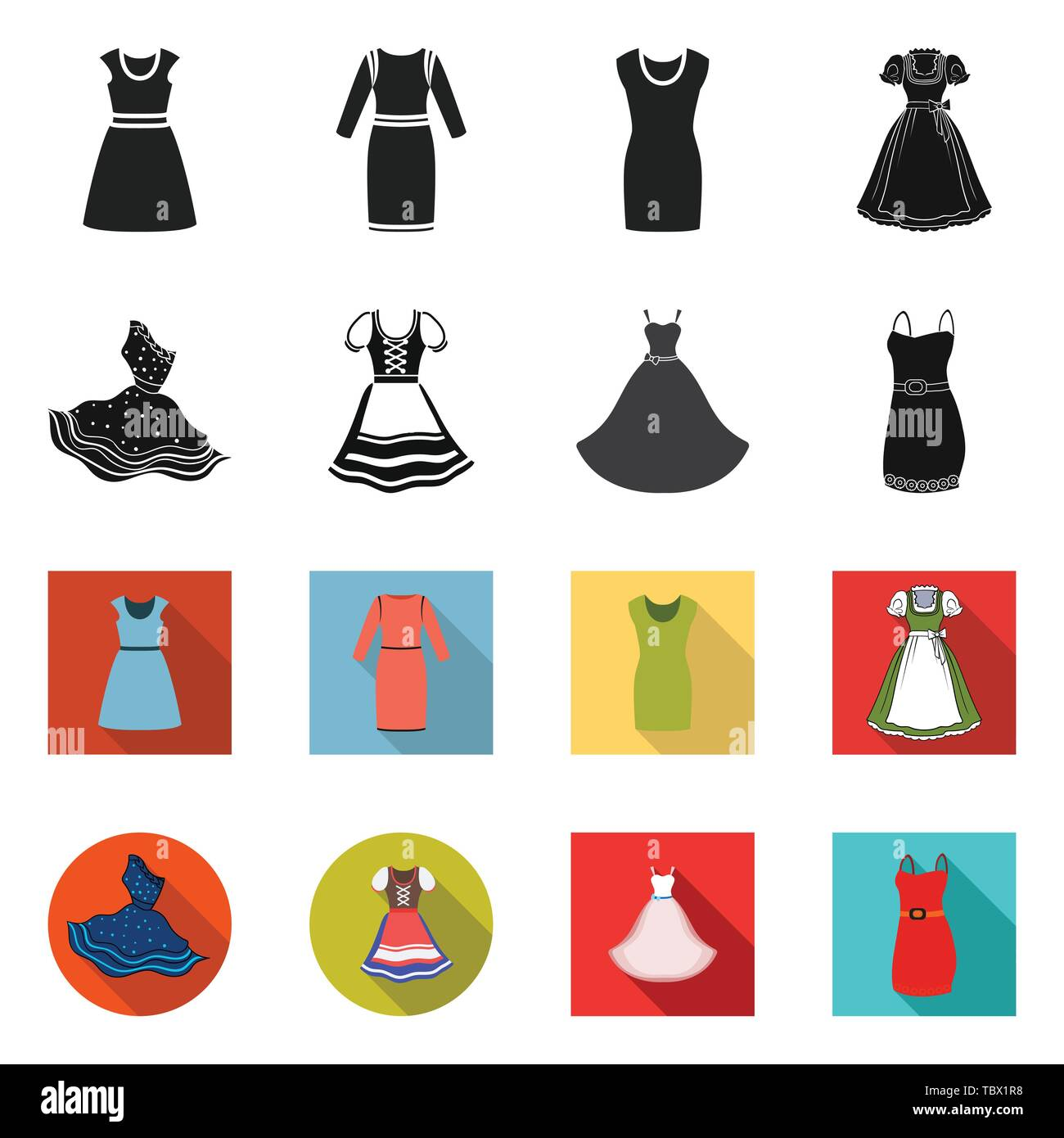 Isolated object of dress and clothes icon. Collection of dress and evening vector icon for stock. - Stock Vector