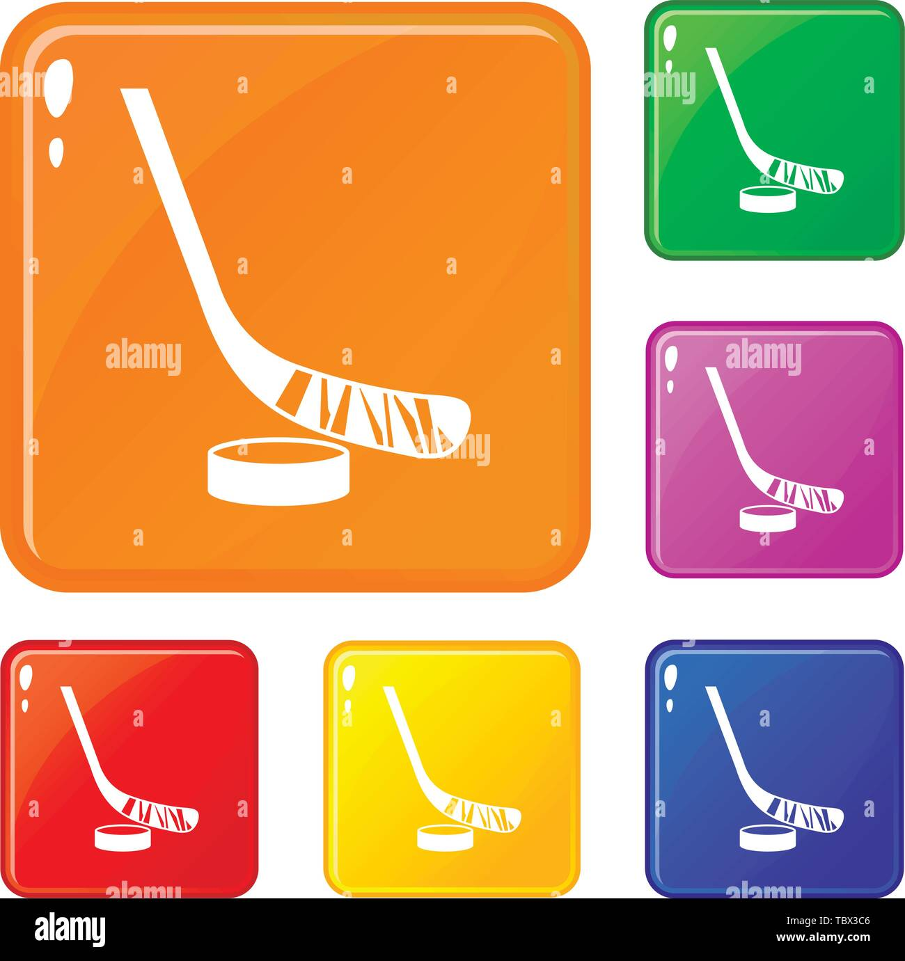 Stick and puck icons set vector color - Stock Vector