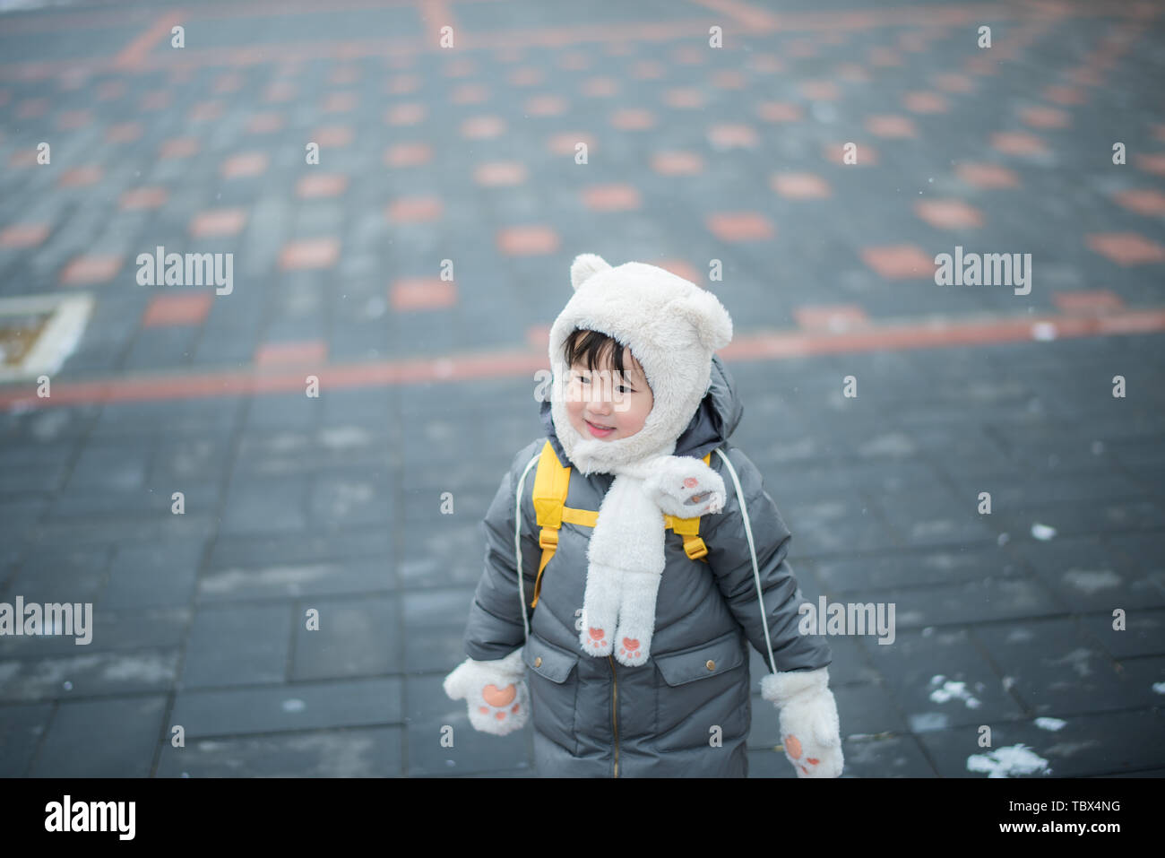 During the Spring Festival 2019, Beijing finally ushered in a snowfall. Children play snow and have fun with the snow. Stock Photo