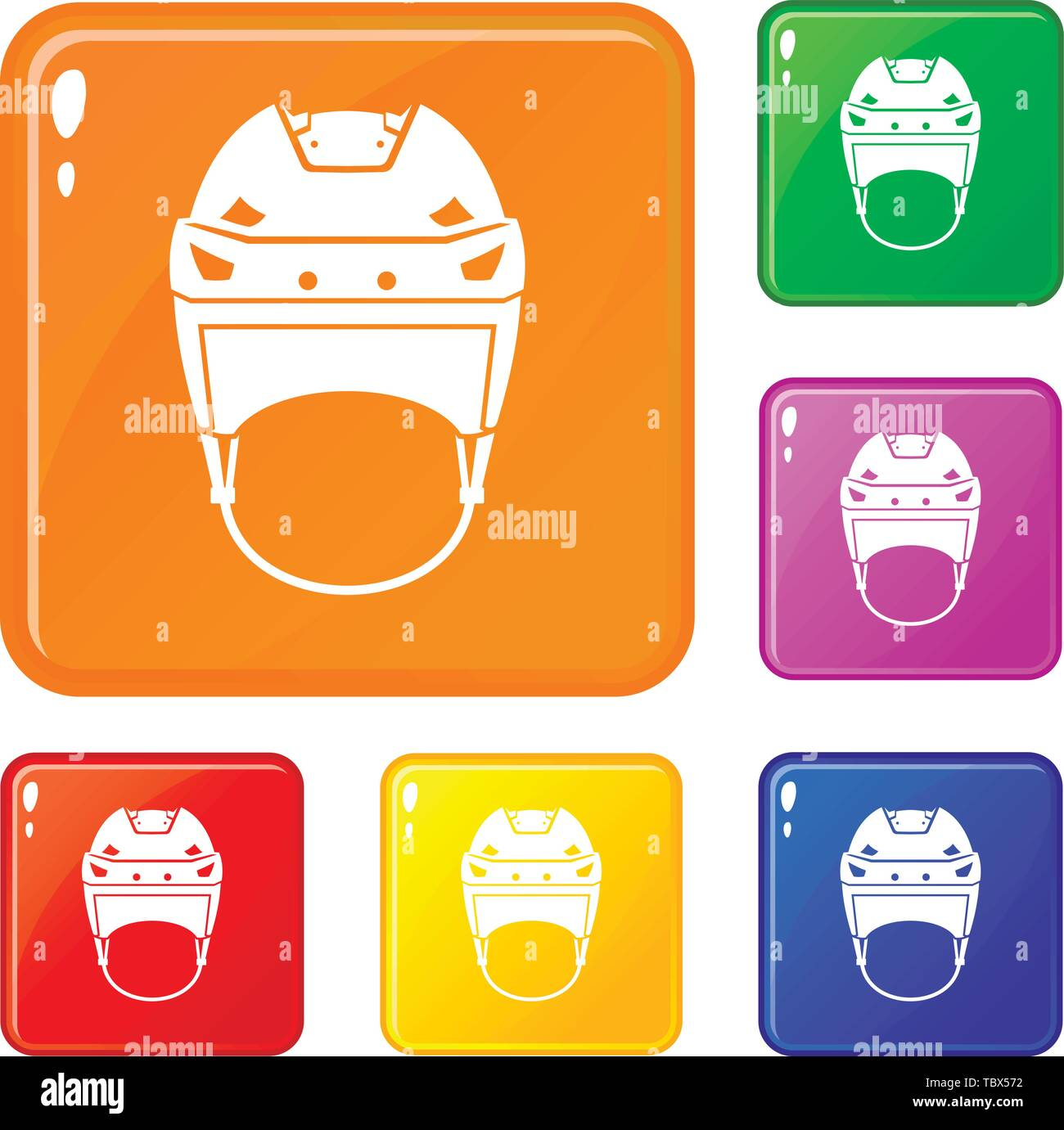 Hockey helmet icons set vector color - Stock Image