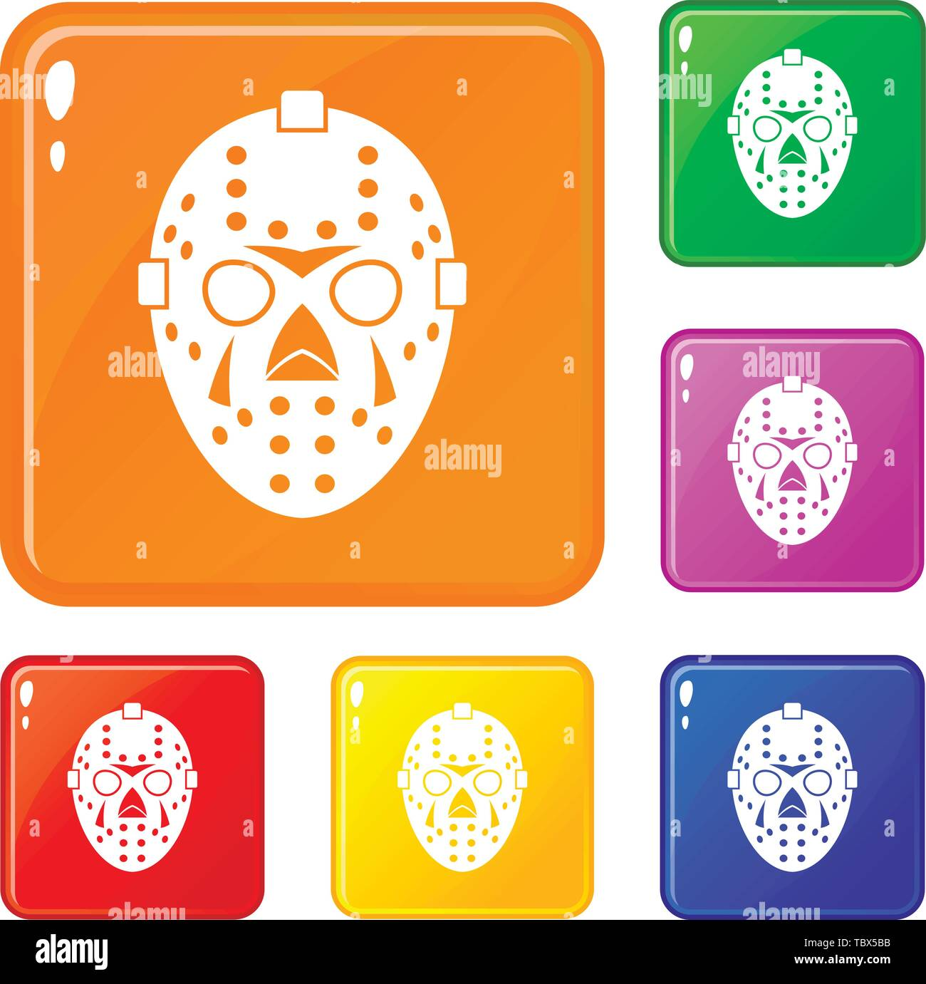 Goalkeeper mask icons set vector color - Stock Image