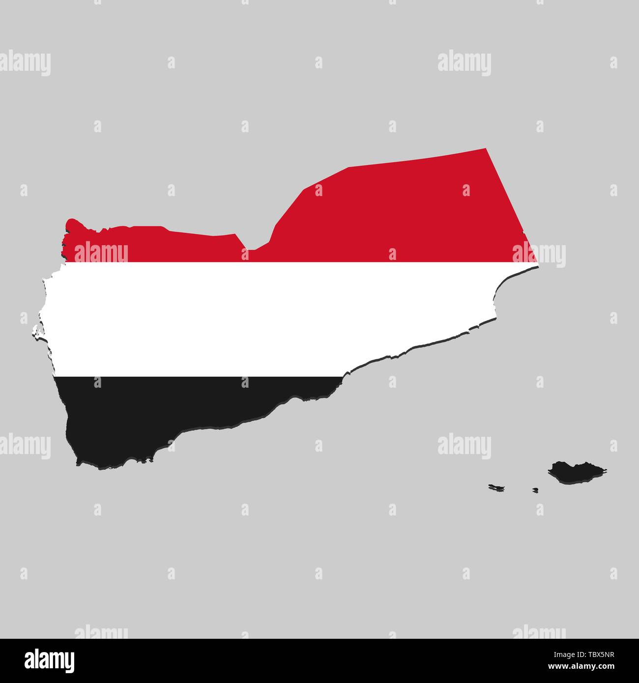 Map of Yemen with national flag. Vector Illustration - Stock Vector