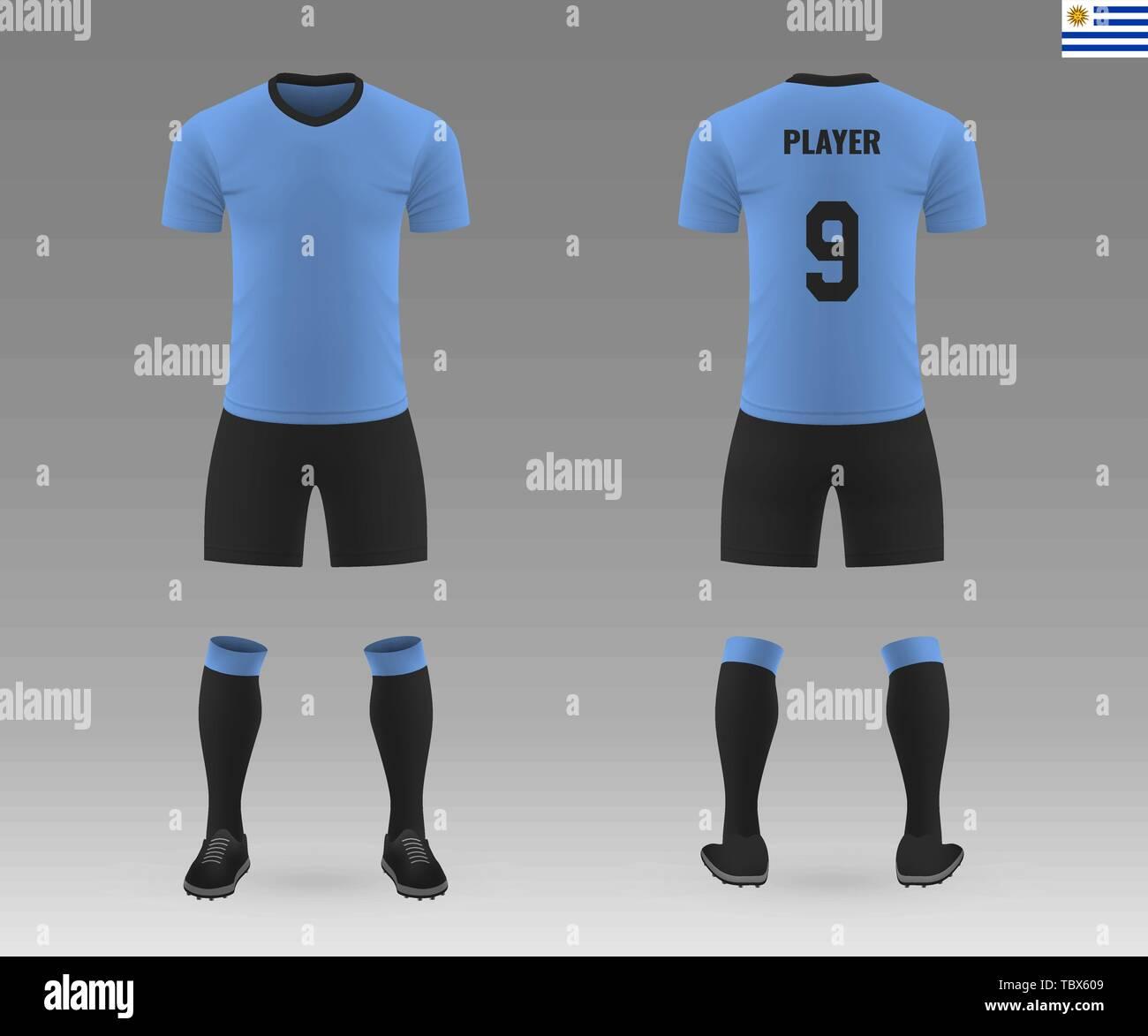 89df3957a93 football kit of national team Uruguay, shirt template for soccer jersey. Vector  illustration