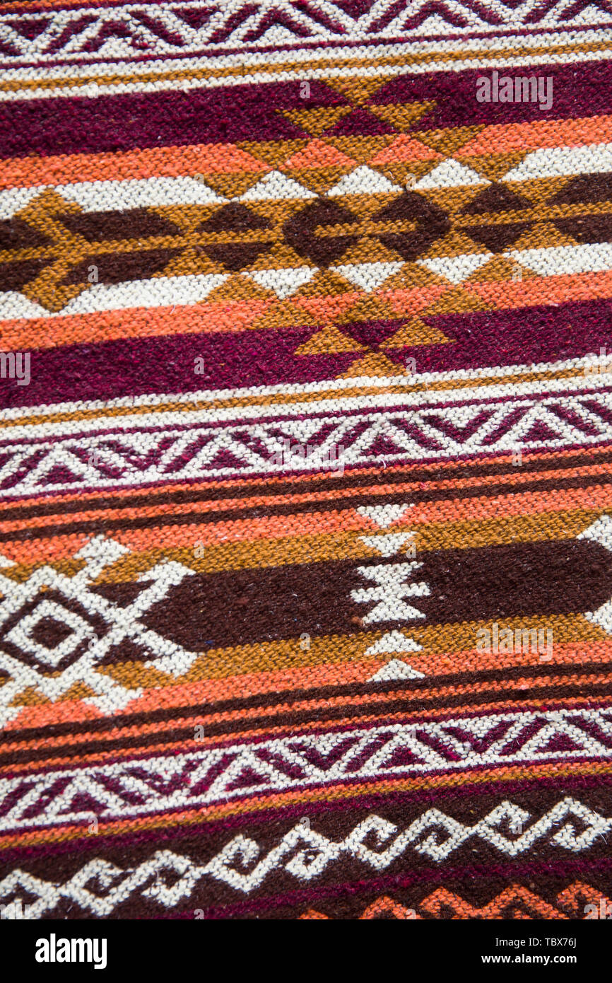 Detail of the traditional Georgian handmade carpet with typical geometrical pattern - Stock Image