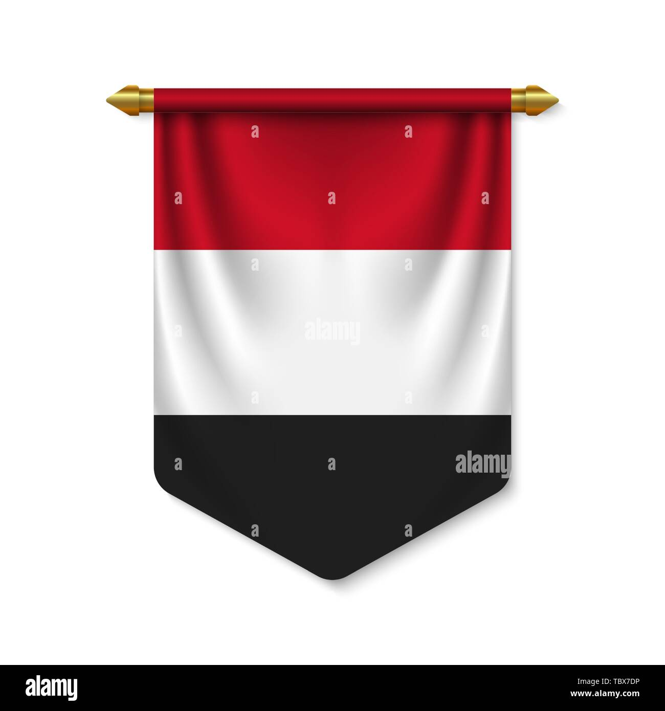 3d realistic pennant with flag of Yemen. Vector illustration - Stock Vector