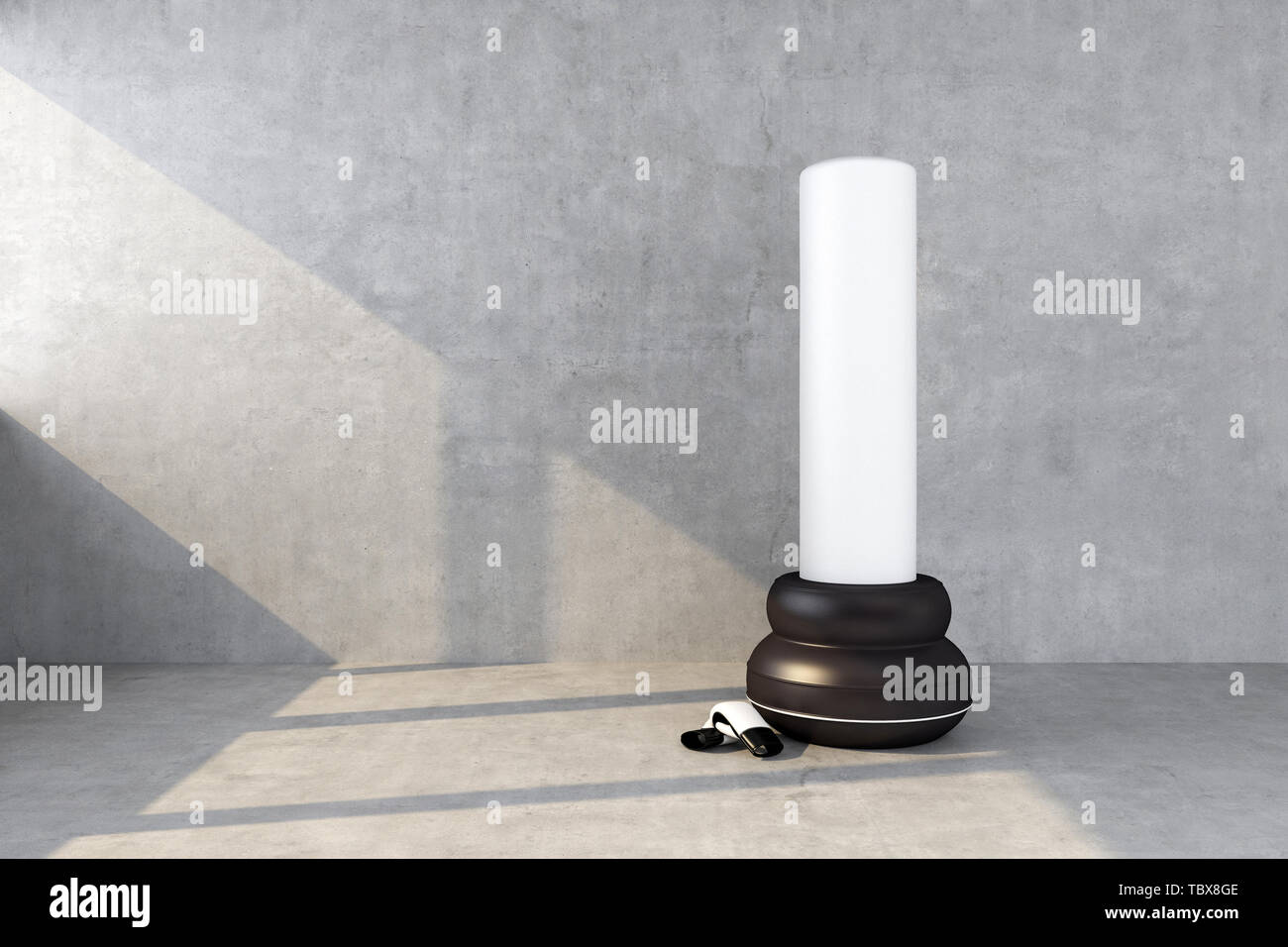 punching bag with a concrete wall. 3d rendering - Stock Image