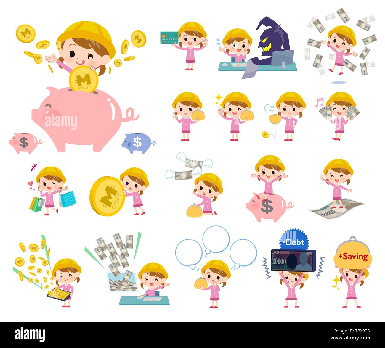 A set of Nursery school girl with concerning money and economy.There are also actions on success and failure.It's vector art so it's easy to edit. - Stock Image