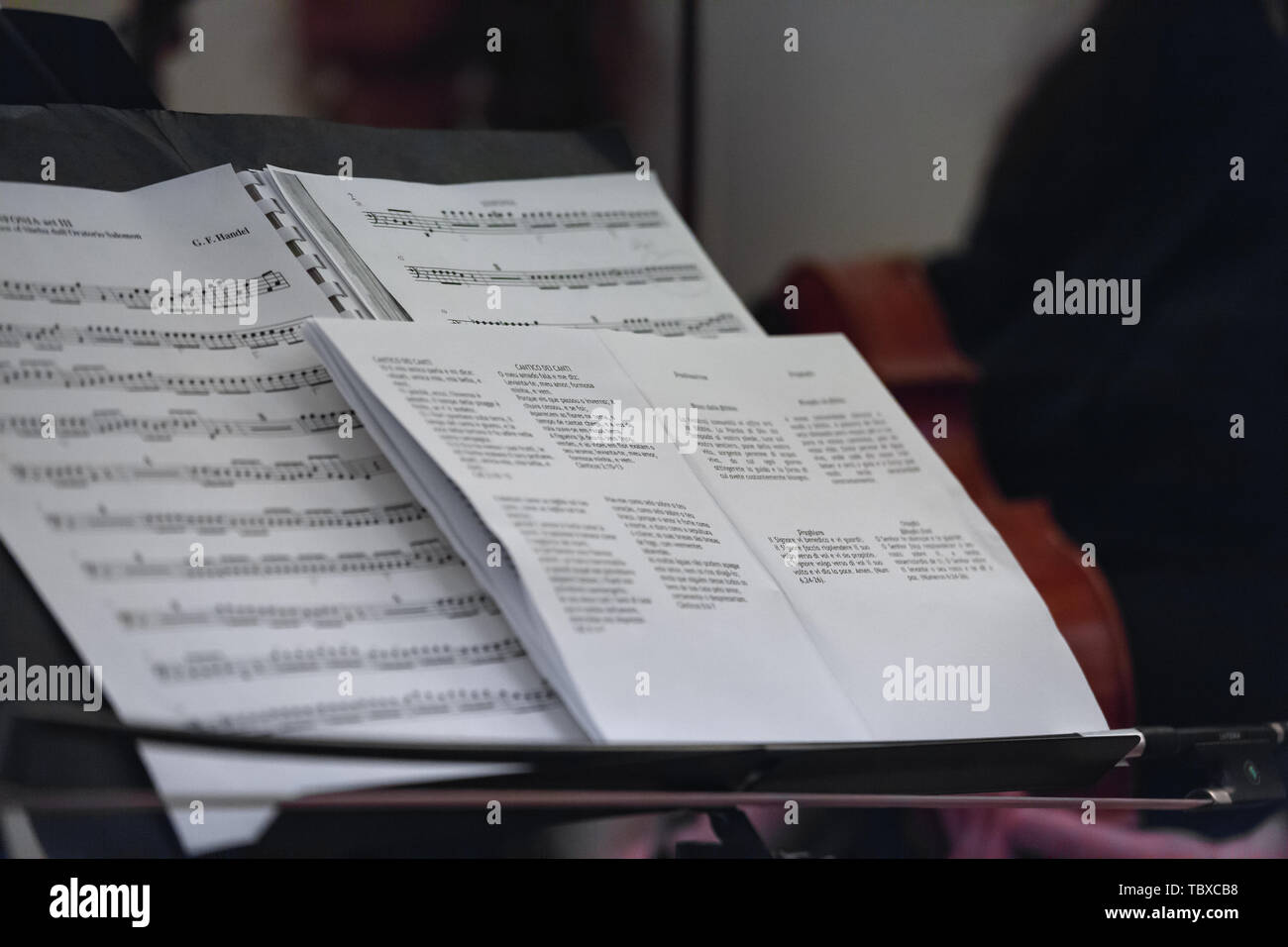 Music notes chart for violin on stand Stock Photo: 248286844
