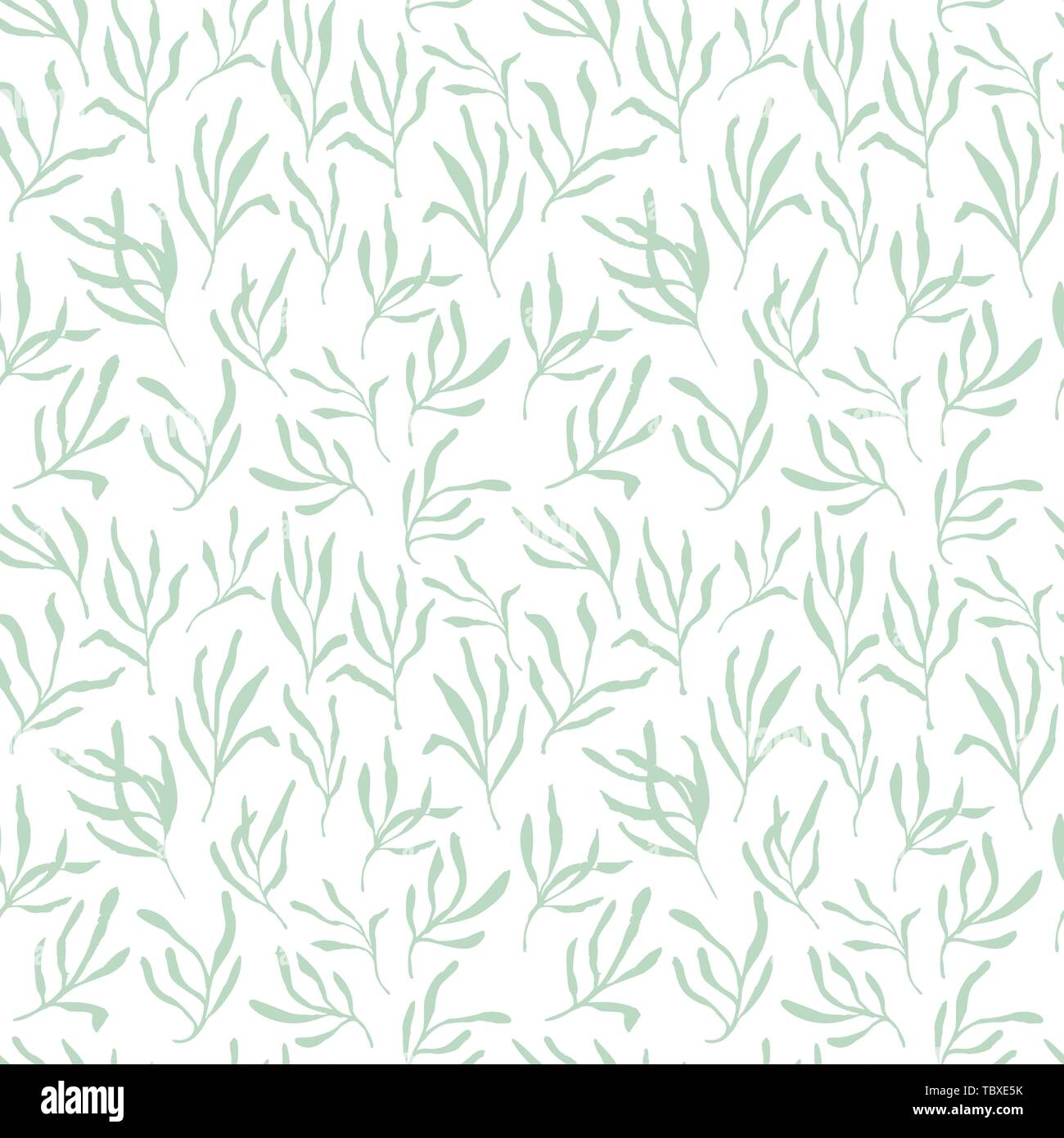 Estragon or tarragon seamless pattern therapeutic green leaf branch. Isolated rosemary vector illustration. - Stock Vector