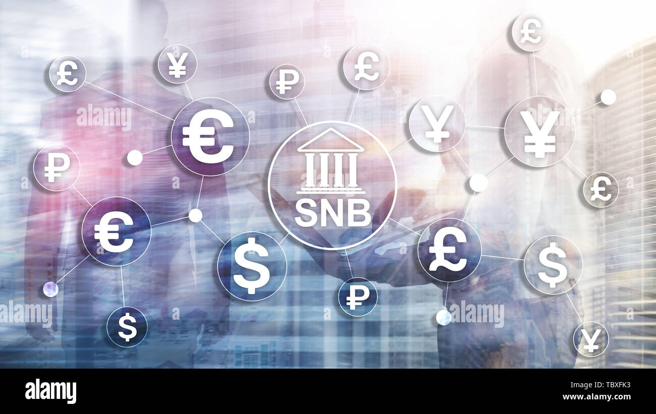 Different currencies on a virtual screen. SNB. Swiss National Bank. - Stock Image