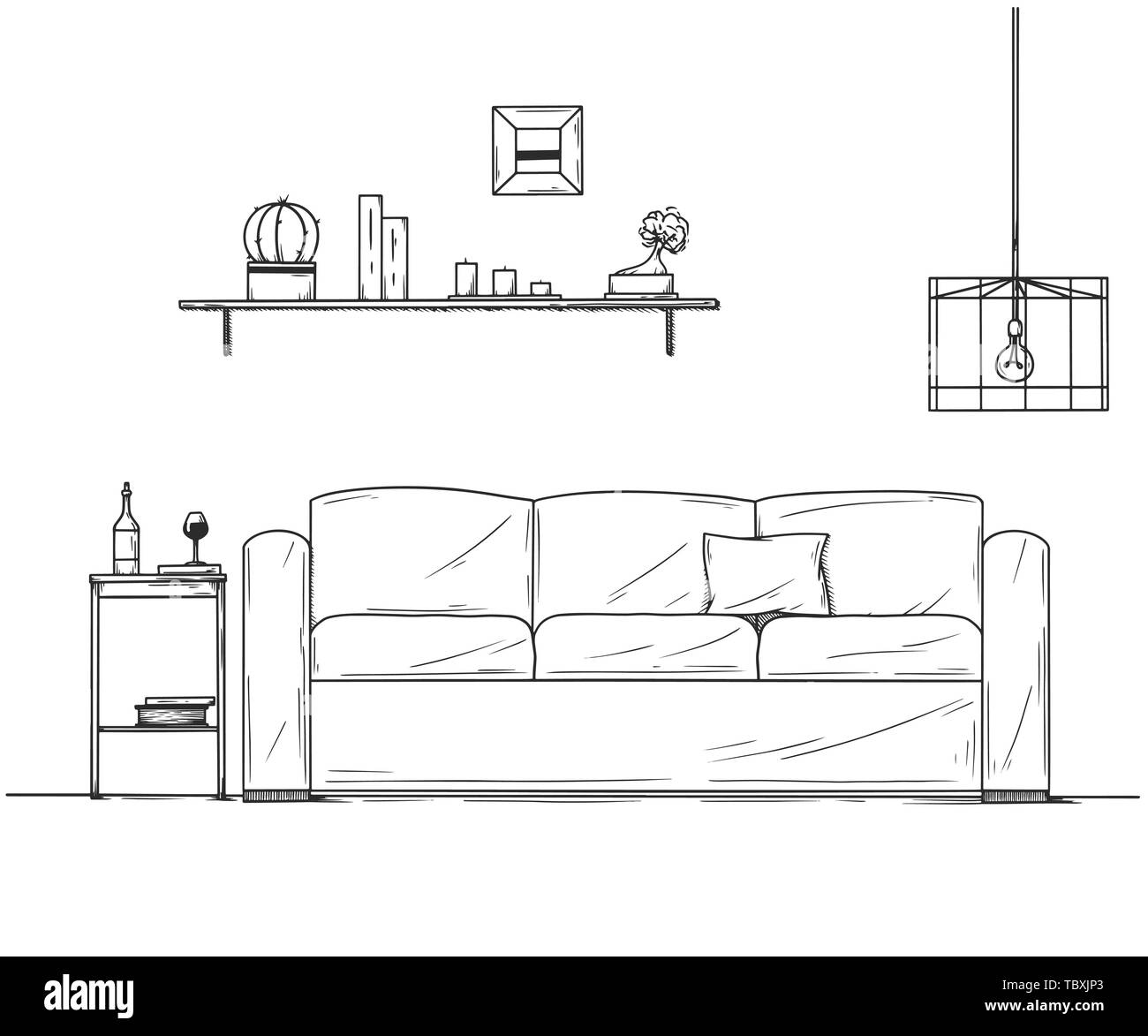 Astonishing Interior In Sketch Style Sofa Bedside Table Lamp And Unemploymentrelief Wooden Chair Designs For Living Room Unemploymentrelieforg