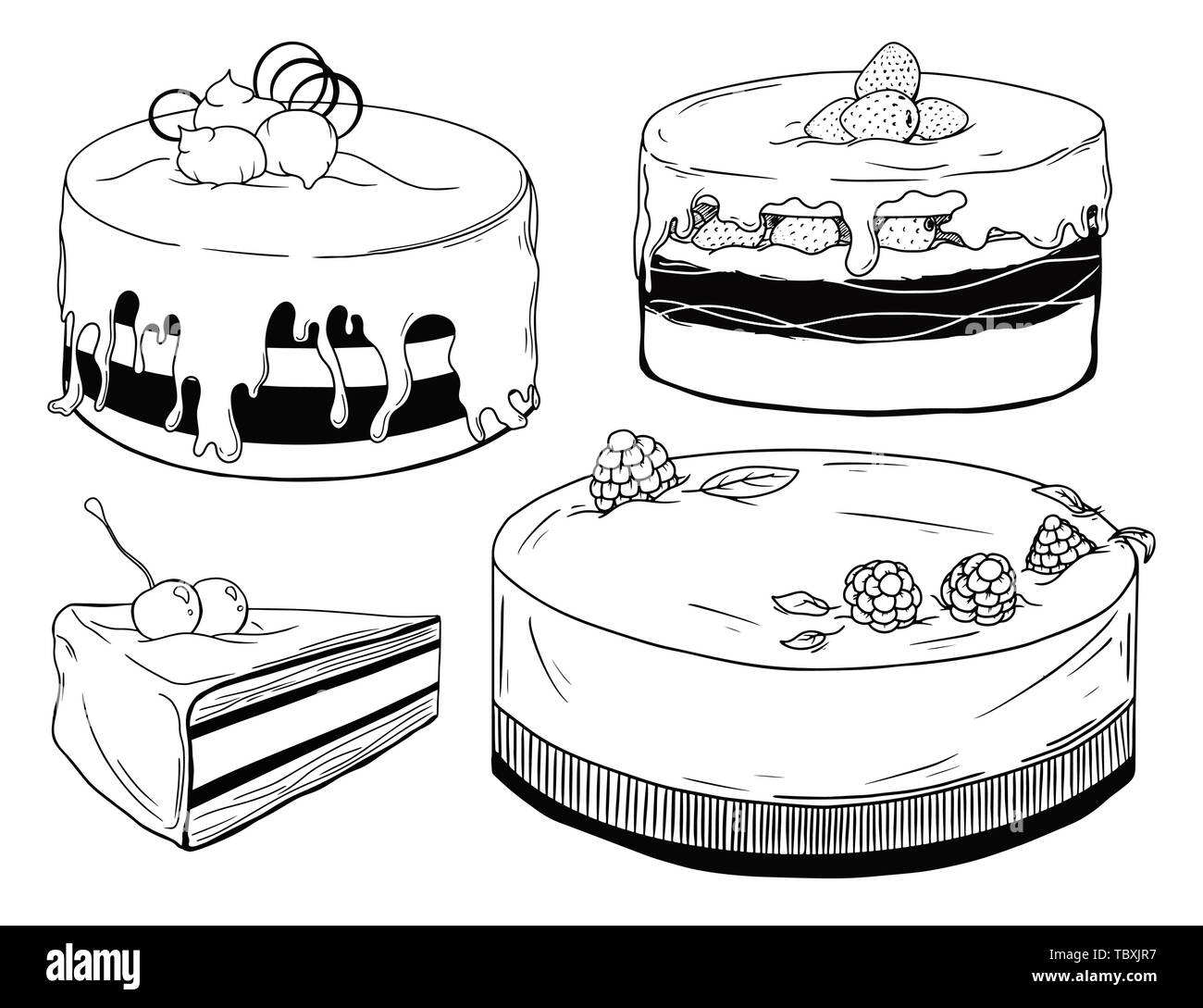 Set of cakes. Sweets isolated on a white background. Vector - Stock Image