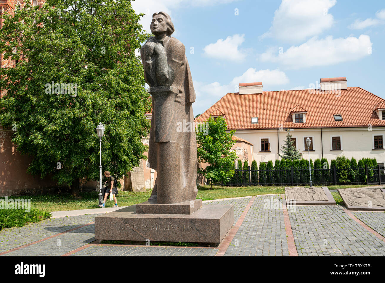 Vilnius, Lithuania. May 2019.   The monument to the famous poet Adomas Mickevicius (Adam Mickiewicz) made by the sculptor Gediminas Jokubonis at 1984 - Stock Image