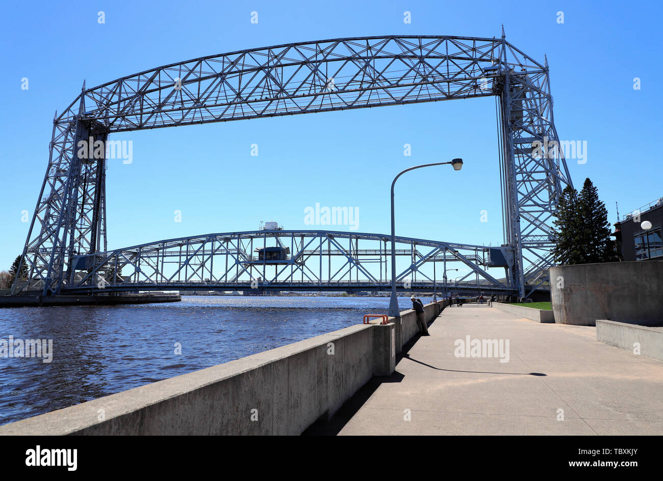 Aerial Lift Bridge Over The Duluth Ship Canal Duluth Minnesota Usa