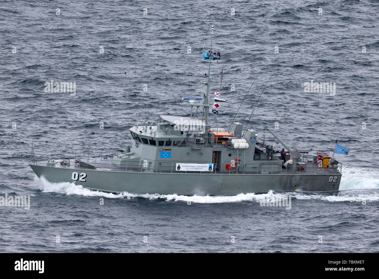 Pacific Forum Class patrol boat FSS Micronesia (FSM02) from the Micronesian Government sailing out of Sydney Harbor. - Stock Image
