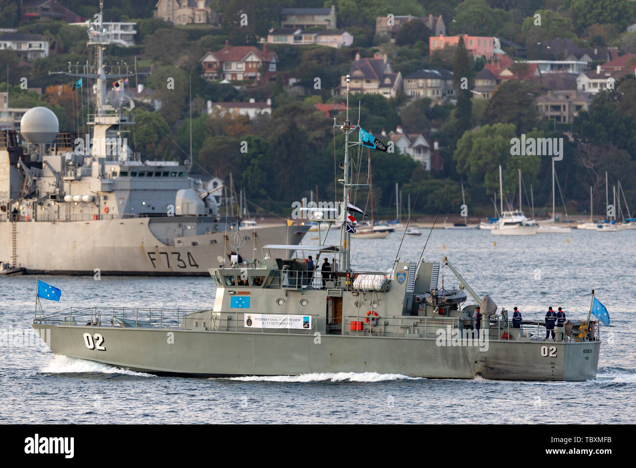 Pacific Forum Class patrol boat FSS MICRONESIA (FSM02) from the Micronesian Government in Sydney Harbor. - Stock Image