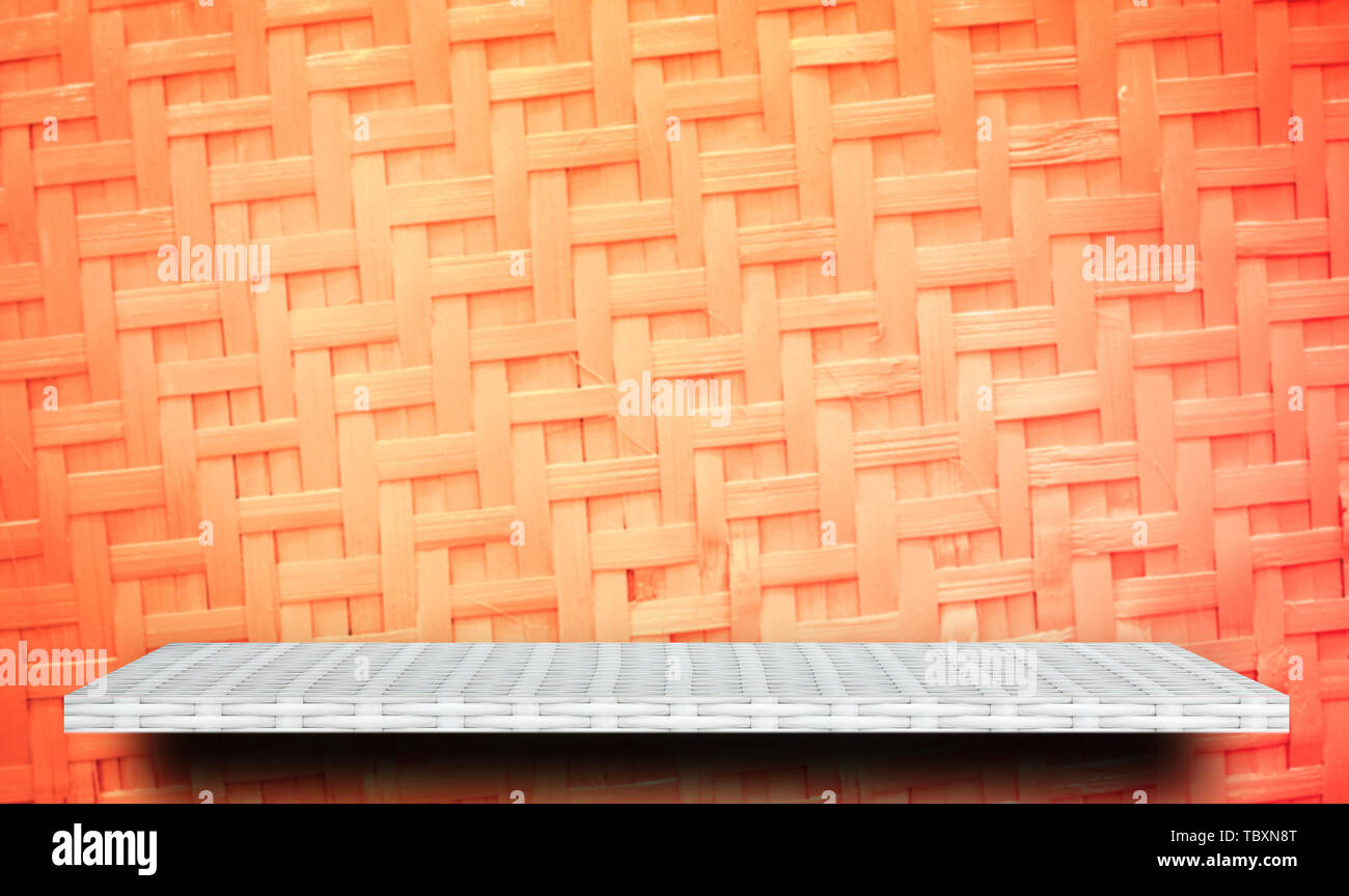 White Product display shelf on orange background - Stock Image