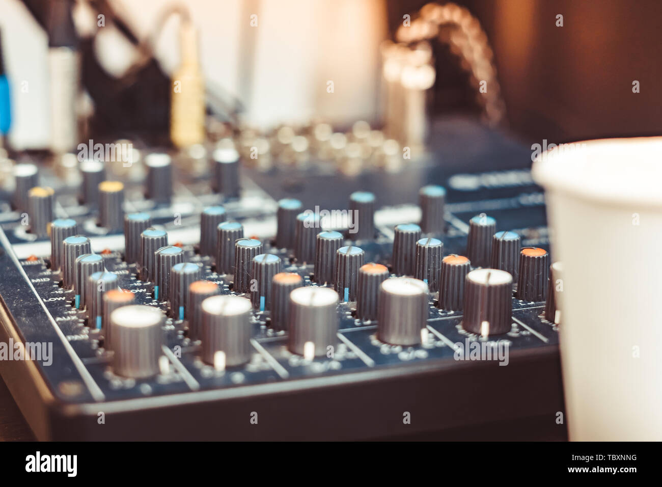 Mixers on the slider at the event - Stock Image