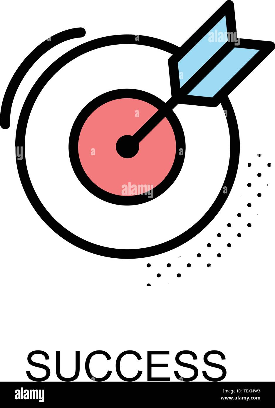 0ad0340d74c Success icon and arrow with dart board on white background illustration  design.vector