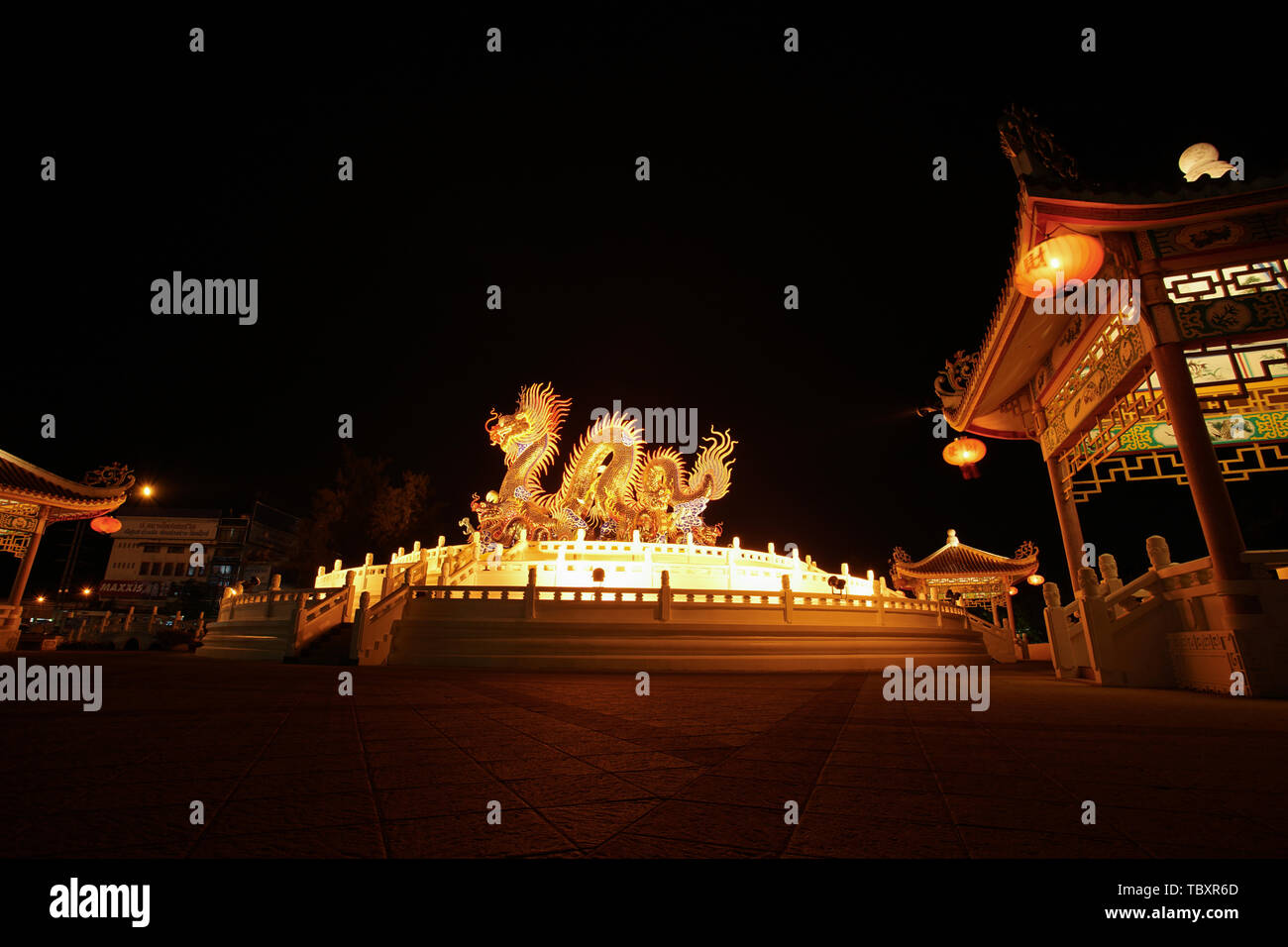Nakhon Sawan, Thailand - May 10, 2019: Gorgeous dragon statue in Sawan Park, Nakhon Sawan privince, Thailand. Stock Photo