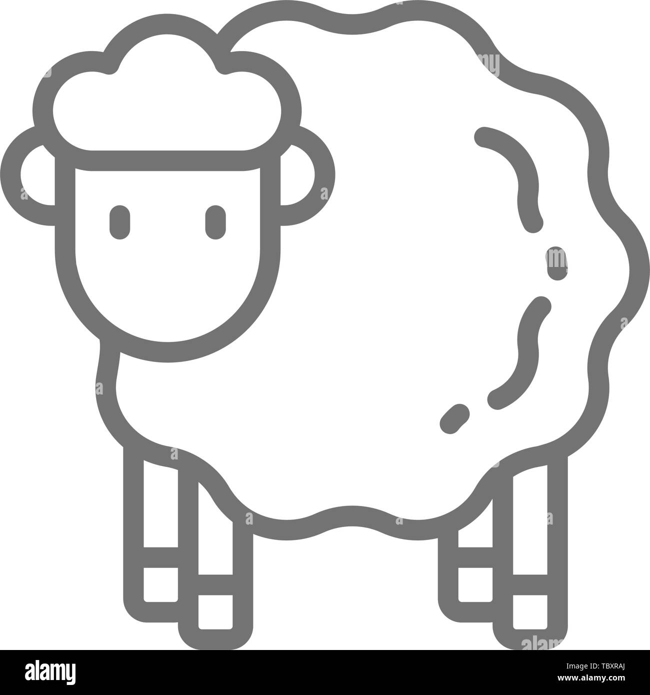 Vector sheep, lamb line icon. - Stock Vector