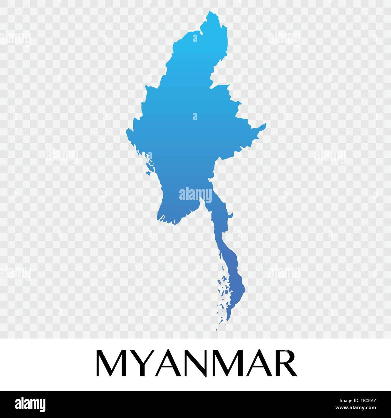 Myanmar map in Asia continent illustration design - Stock Vector