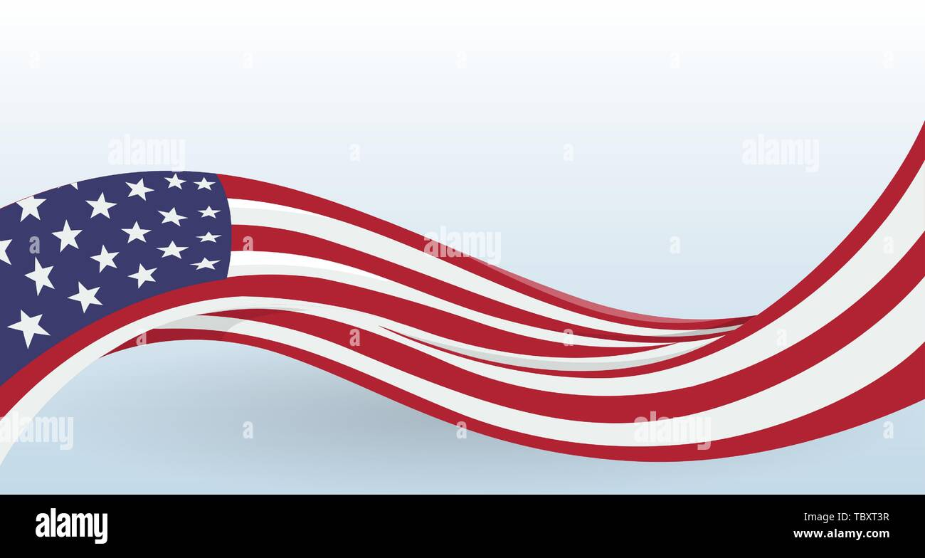 USA Waving National flag. Modern unusual shape. Design template for decoration of flyer and card, poster, banner and logo. Isolated vector - Stock Vector