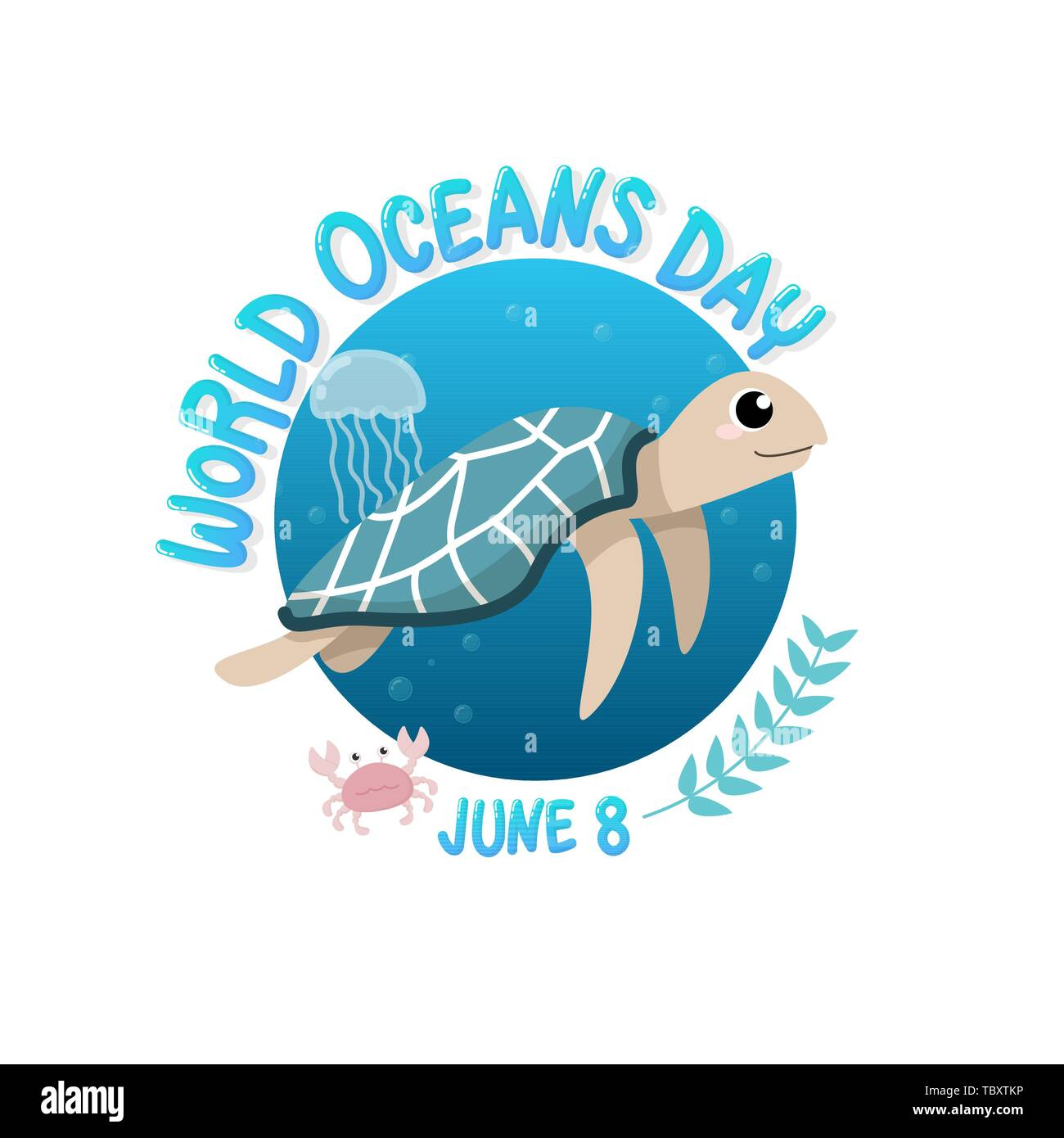 vector of logo for world ocean day with turtle swim in the sea with jellyfish and crab in circle.  world ocean day on June 8 for celebration dedicated - Stock Image