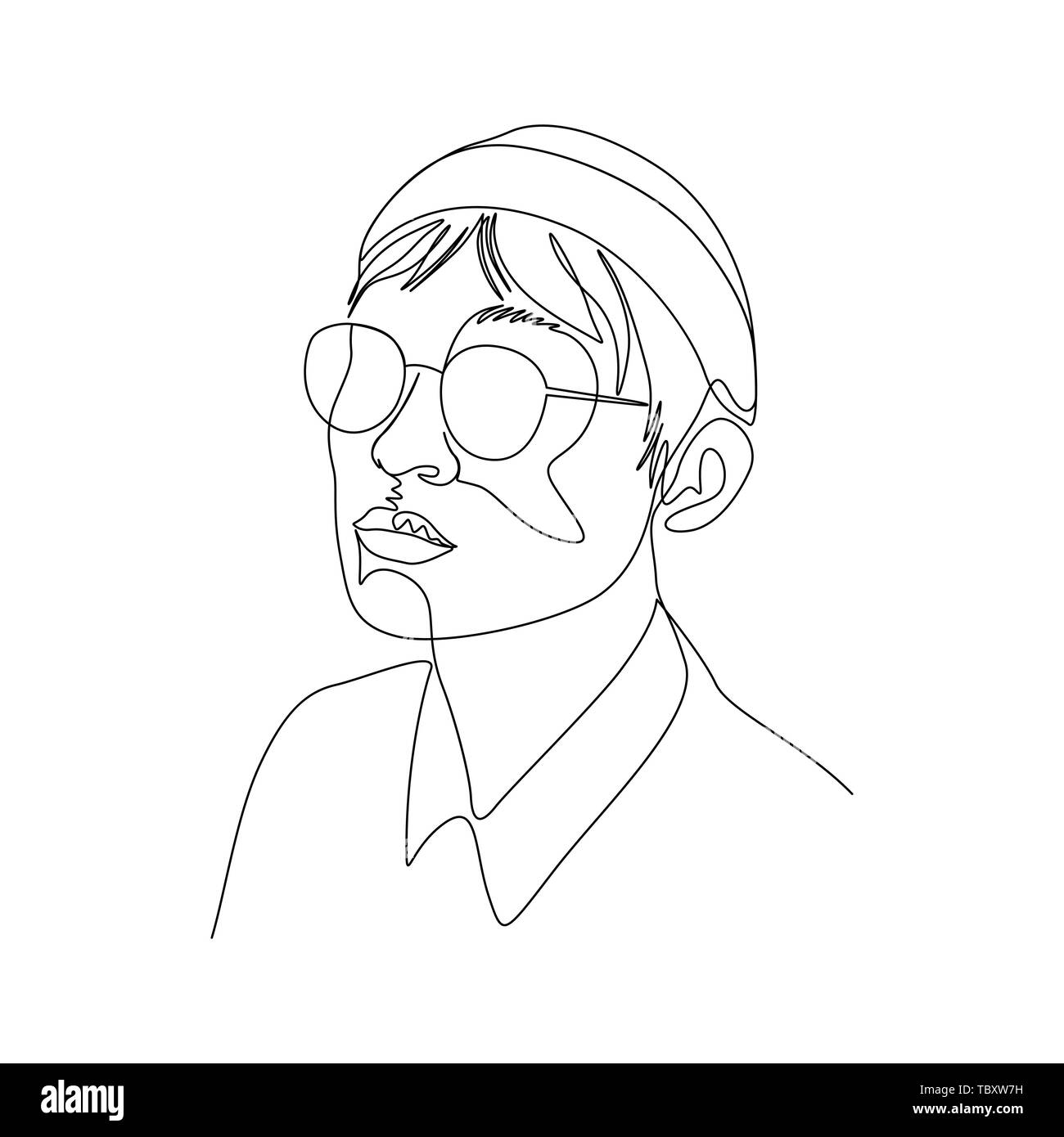 Continuous one line portrait of man in glasses and cap. Art - Stock Image