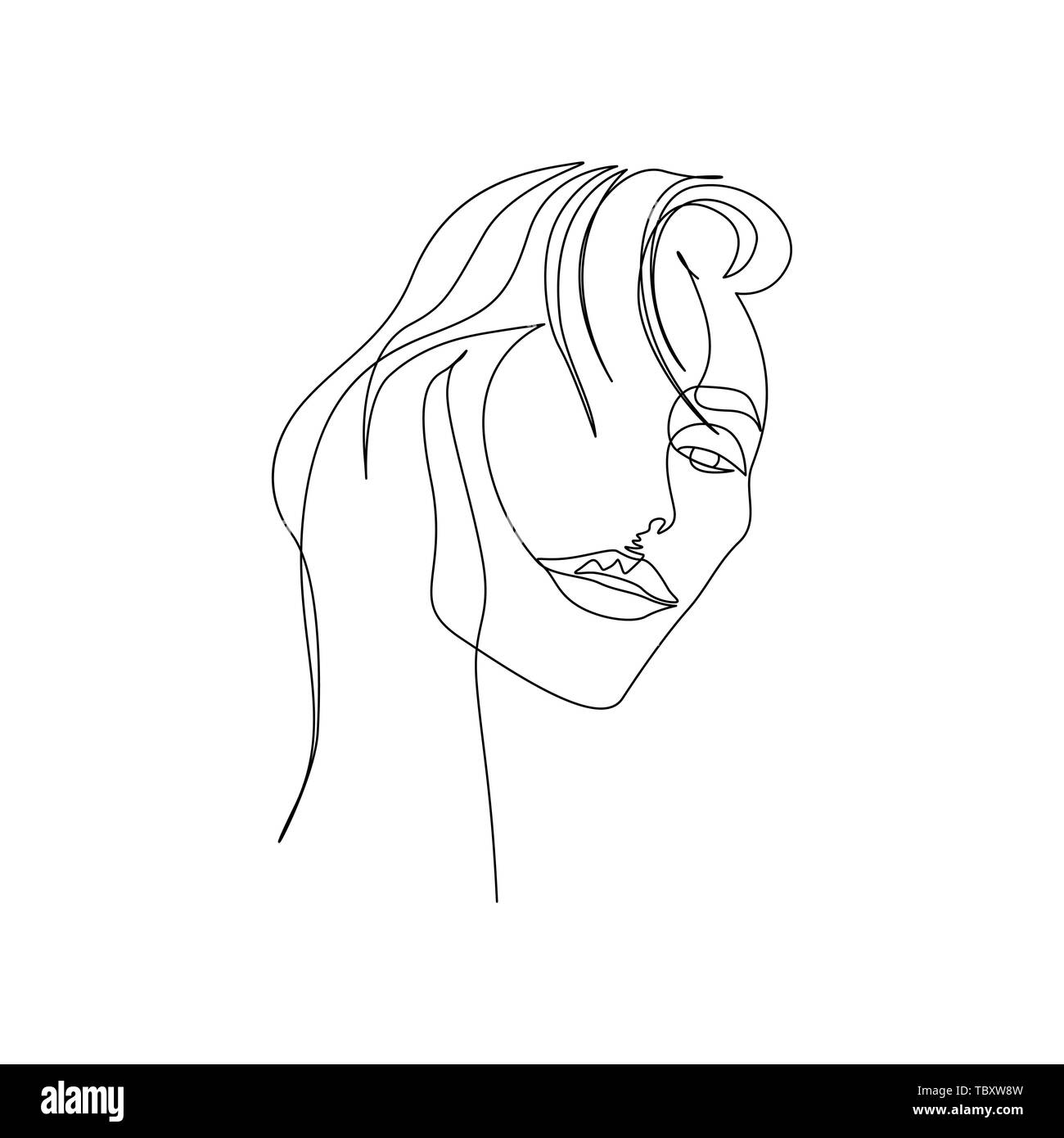 Continuous one line portrait of woman with beautiful lips. Art - Stock Image