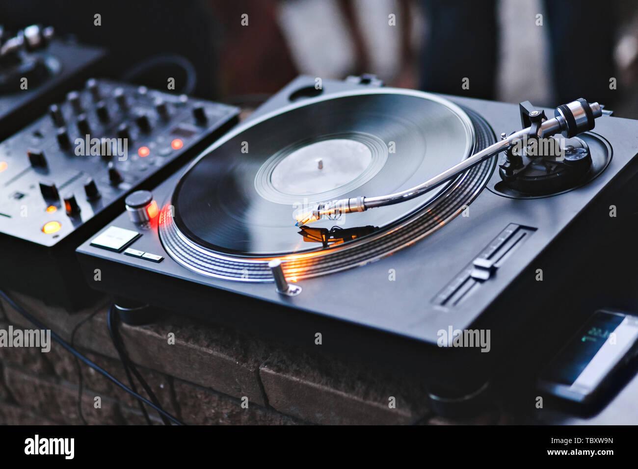 Needle on a vinyl record  Turntable vinyl record player