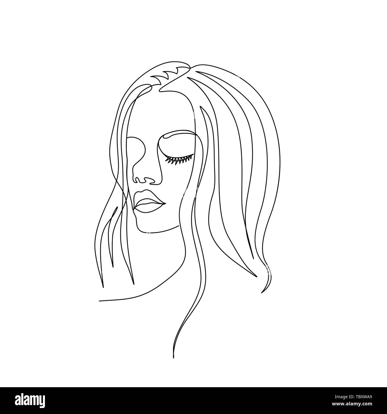 Continuous one line woman face with beautiful eyes. Art - Stock Image