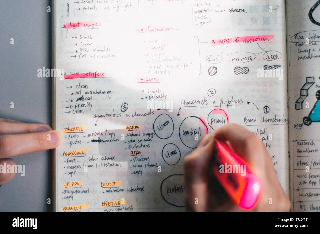 A person's hand, writing down some drafts for the project with a marker - Stock Image