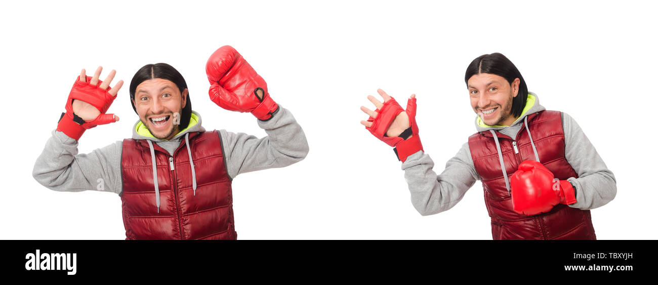 Man wearing boxing gloves isolated on white - Stock Image