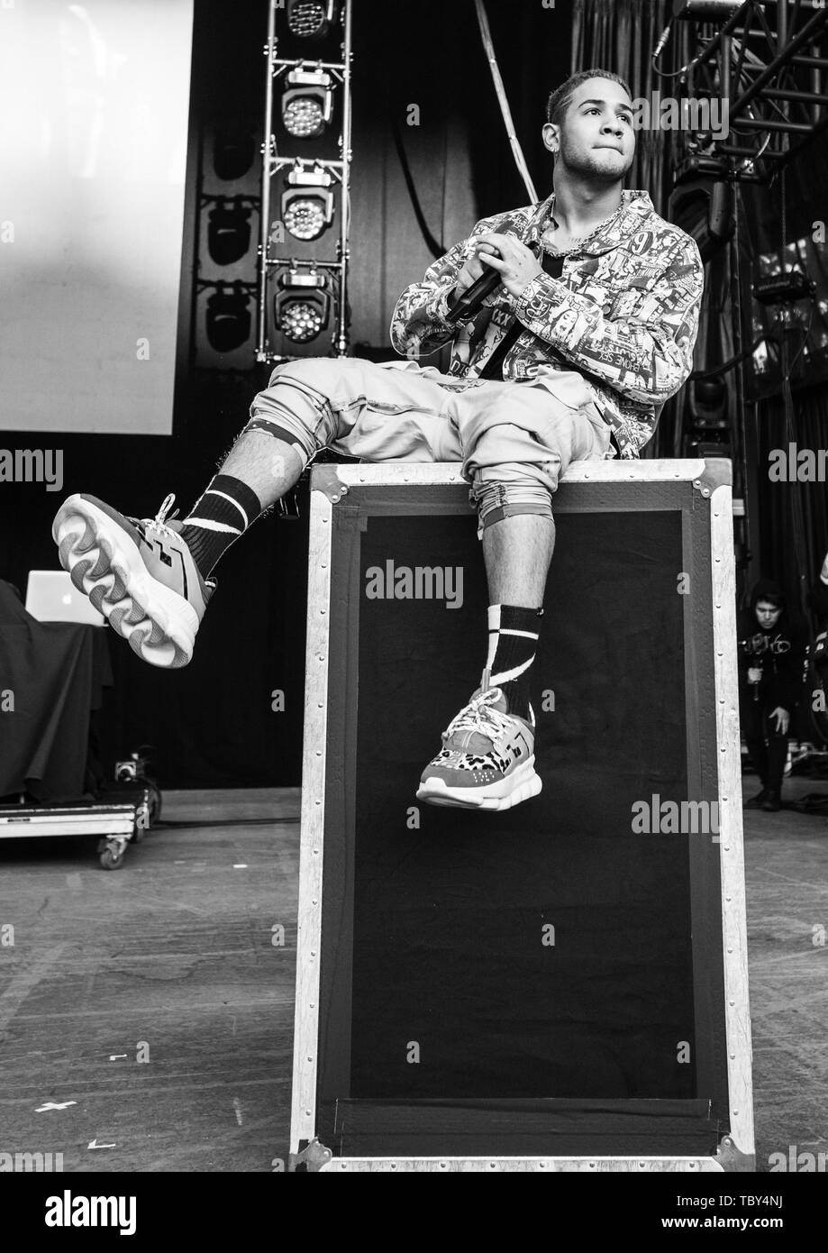 MOUNTAIN VIEW, CALIFORNIA - JUNE 2: Richard Camacho of CNCO performs during Wild 94.9's Wazzmatazz at Shoreline Amphitheatre on June 2, 2019 in Mountain View, California. Photo: Chris Tuite/imageSPACE/MediaPunch Stock Photo