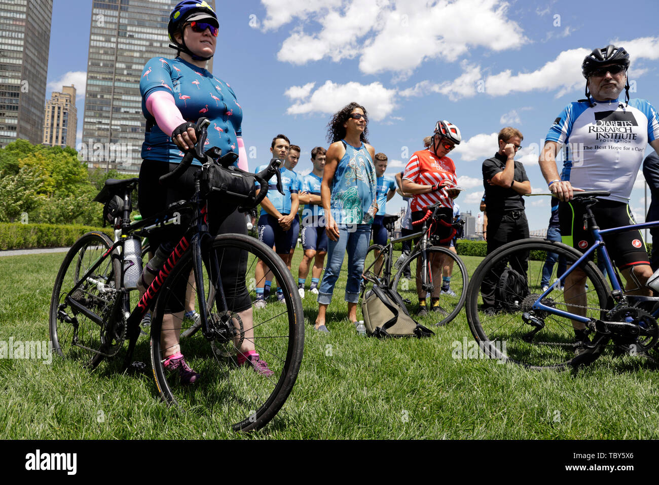 United Nations. 3rd June, 2019. Cyclists attend an event to commemorate the first World Bike Day at the UN headquarters in New York, June 3, 2019. The United Nations on Monday commemorated World Bicycle Day to acknowledge the uniqueness, longevity and versatility of bicycles. Credit: Li Muzi/Xinhua/Alamy Live News - Stock Image