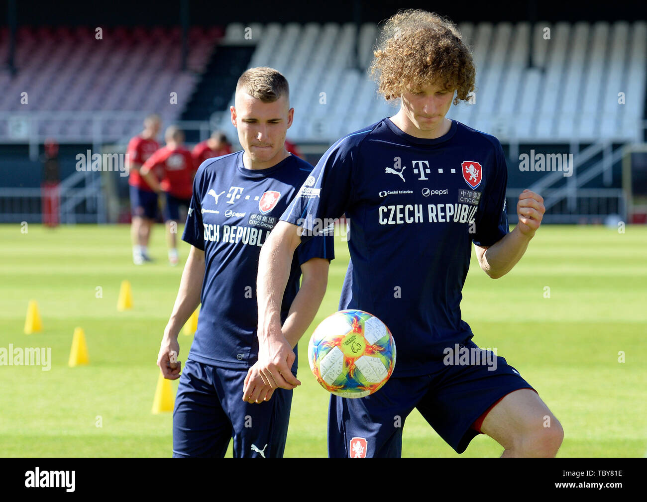Prague, Czech Republic. 03rd June, 2019. Michal Sadilek, left, and Alex Kral of the Czech Republic national soccer team attend the training prior to the European Championship qualifiers with Bulgaria (Prague on June 7) and Montenegro (Olomouc, north Moravia, on June 10) in Prague, Czech Republic, June 3, 2019. Credit: Katerina Sulova/CTK Photo/Alamy Live News Stock Photo