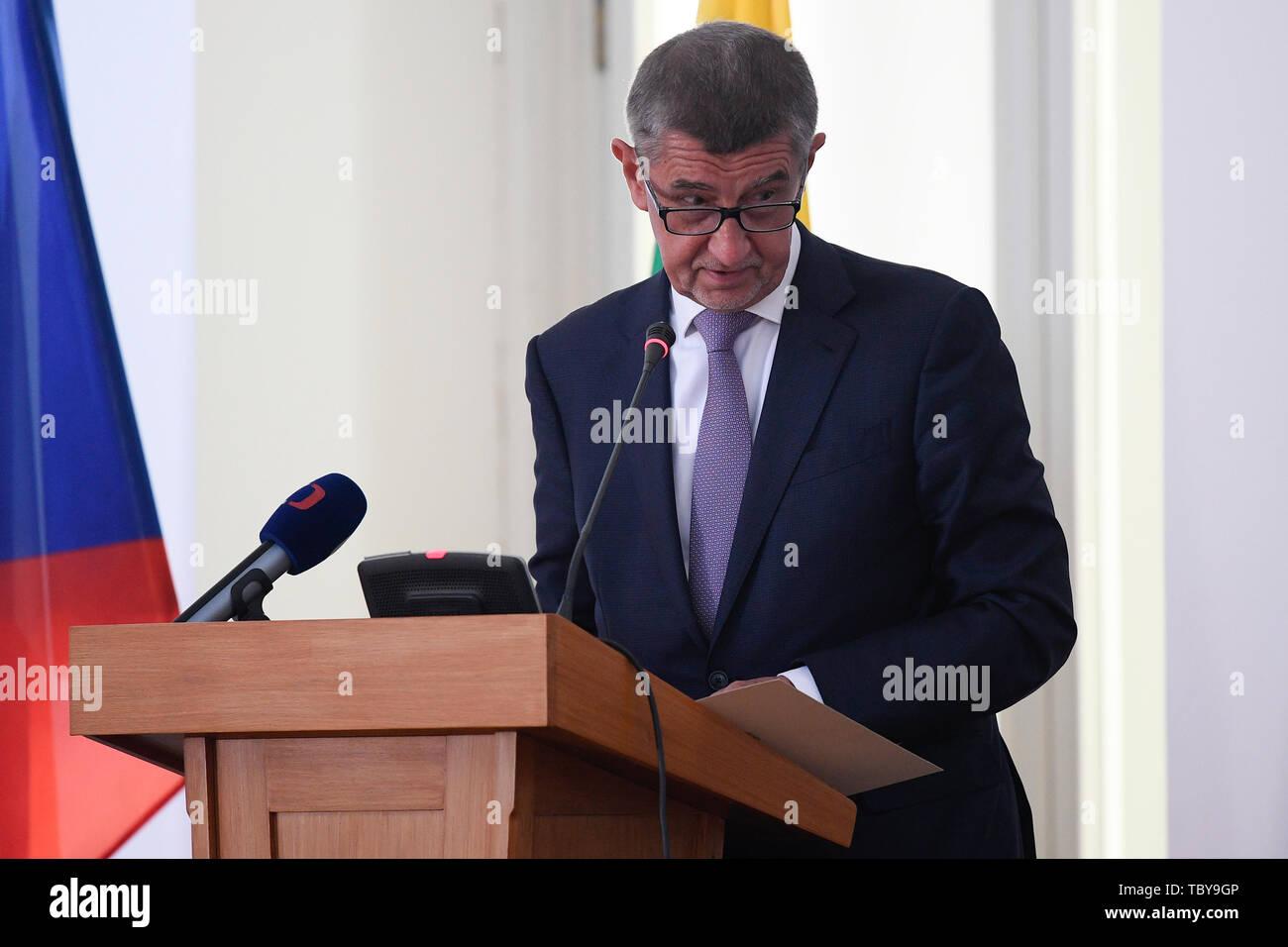 Prague, Czech Republic. 04th June, 2019. Czech Prime Minister Andrej Babis attends a Czech-Burmese Business Forum on June 4, 2019, in Prague, Czech Republic. Credit: Ondrej Deml/CTK Photo/Alamy Live News Stock Photo