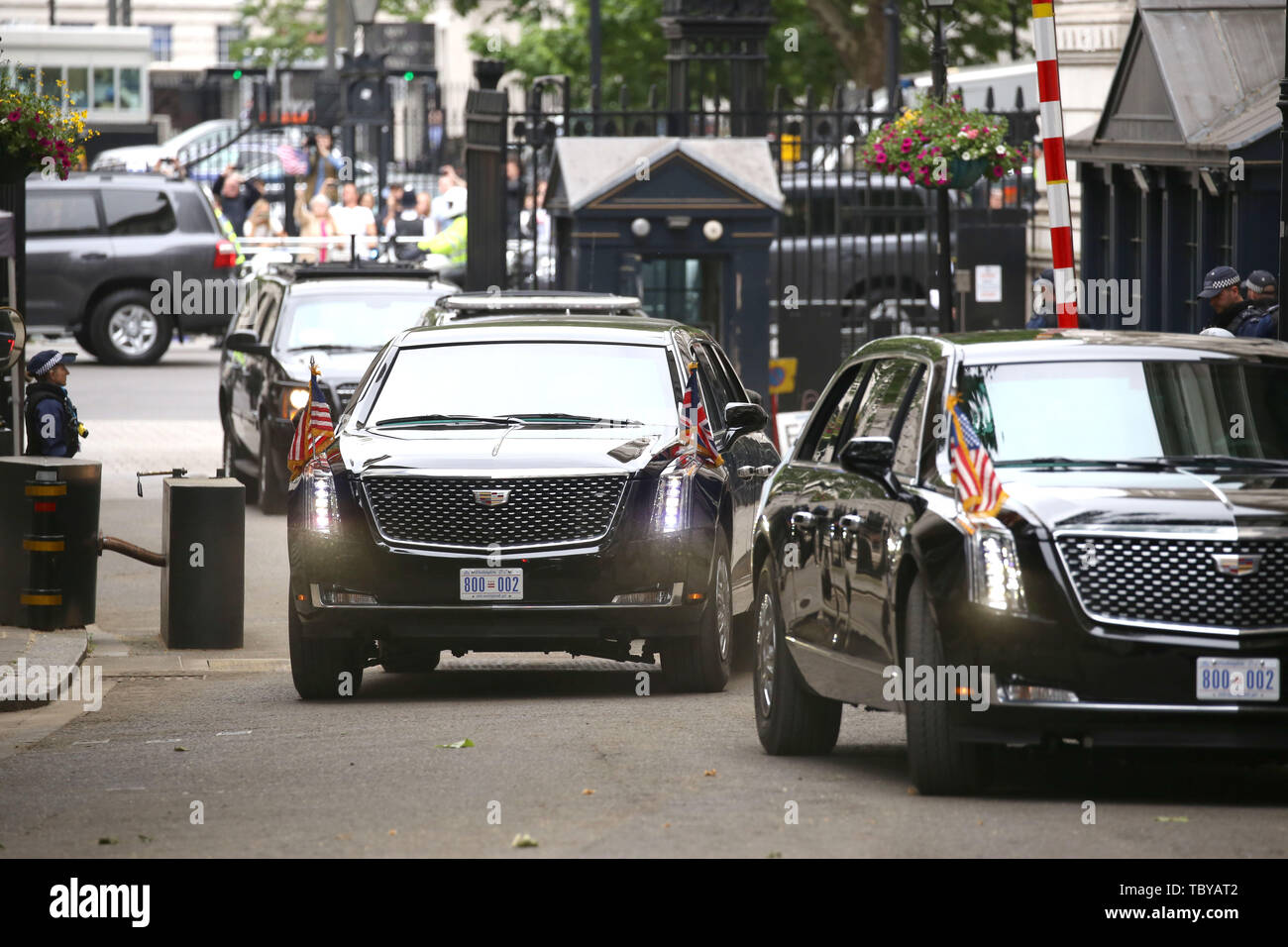 London, UK. 04th June, 2019. 'The Beast' vehicle bringing Donald Trump (President of the United States), and First Lady Melania Trump, arrives in Downing Street. The President met The Prime Minister during his state visit to the UK. Donald Trump, State visit, Downing Street, London, UK on June 4, 2019. Credit: Paul Marriott/Alamy Live News Stock Photo