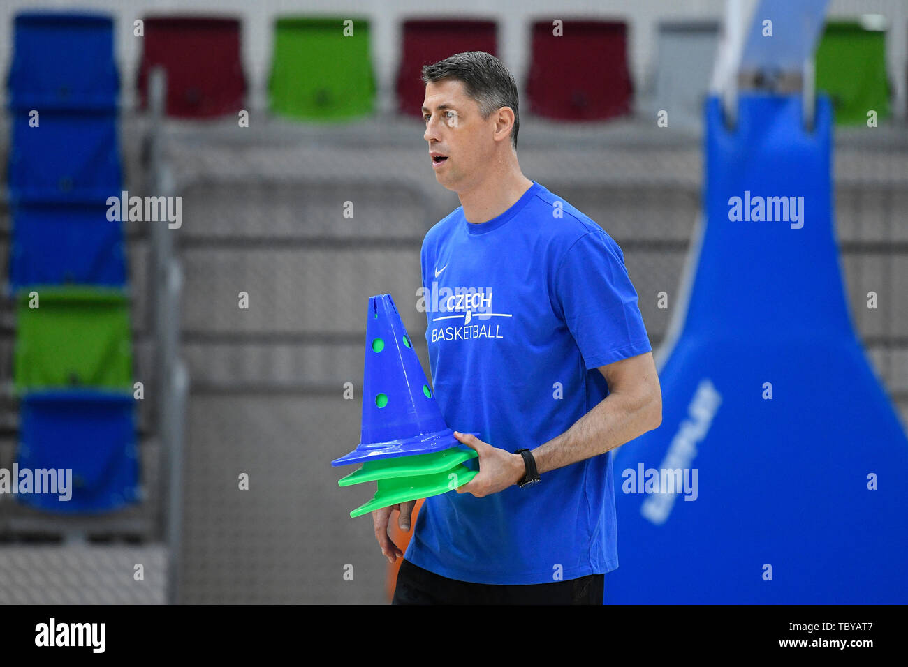 Stefan Svitek, Coach of the Czech Republic national basketball team, attends a training session prior to the European Championship (FIBA Women's EuroBasket 2019), on June 4, 2019, in Prague, Czech Republic. (CTK Photo/Ondrej Deml) Stock Photo
