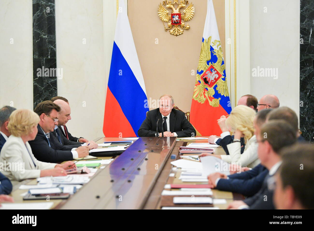 Moscow, Russia. 04th June, 2019. MOSCOW, RUSSIA - JUNE 4, 2019: Russia's President Vladimir Putin (C) chairs a Russian government meeting at the Moscow Kremlin. Alexei Druzhinin/Russian Presidential Press and Information Office/TASS Credit: ITAR-TASS News Agency/Alamy Live News - Stock Image