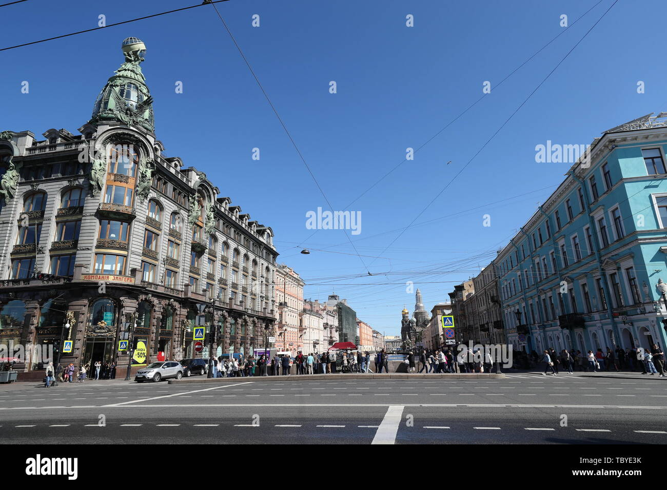 St. Petersburg. 3rd June, 2019. Photo taken on June 3, 2019 shows a street view of St. Petersburg, Russia. Chinese President Xi Jinping will pay a state visit to Russia from June 5 to 7 at the invitation of Russian President Vladimir Putin, a Chinese Foreign Ministry spokesperson announced on Wednesday at a press briefing. Xi will also attend the 23rd St. Petersburg International Economic Forum during his stay, according to spokesperson Lu Kang. Credit: Lu Jinbo/Xinhua/Alamy Live News - Stock Image