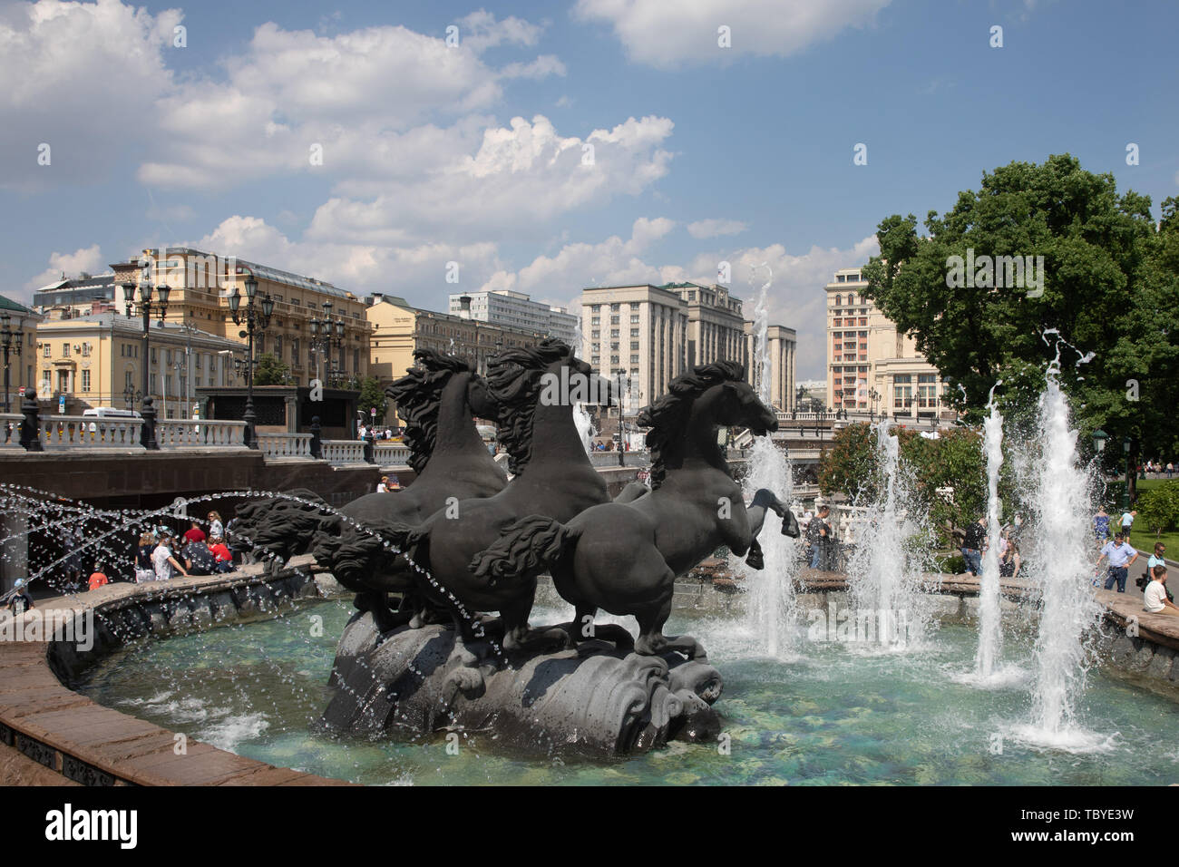 Moscow. 28th May, 2019. Photo taken on May 28, 2019 shows a fountain in Moscow, capital of Russia. Chinese President Xi Jinping will pay a state visit to Russia from June 5 to 7 at the invitation of Russian President Vladimir Putin, a Chinese Foreign Ministry spokesperson announced on Wednesday at a press briefing. Xi will also attend the 23rd St. Petersburg International Economic Forum during his stay, according to spokesperson Lu Kang. Credit: Bai Xueqi/Xinhua/Alamy Live News - Stock Image