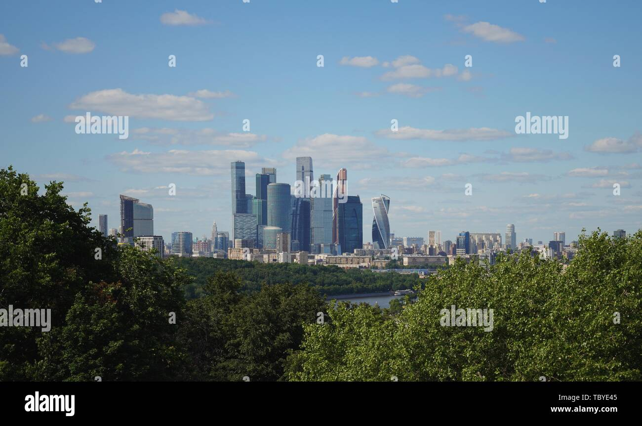 (190604) -- MOSCOW, June 4, 2019 (Xinhua) -- Photo taken on June 3, 2019 shows skyscrapers at the international business center in Moscow, capital of Russia. Chinese President Xi Jinping will pay a state visit to Russia from June 5 to 7 at the invitation of Russian President Vladimir Putin, a Chinese Foreign Ministry spokesperson announced on Wednesday at a press briefing.     Xi will also attend the 23rd St. Petersburg International Economic Forum during his stay, according to spokesperson Lu Kang. (Xinhua/Bi Xiaoyang) - Stock Image