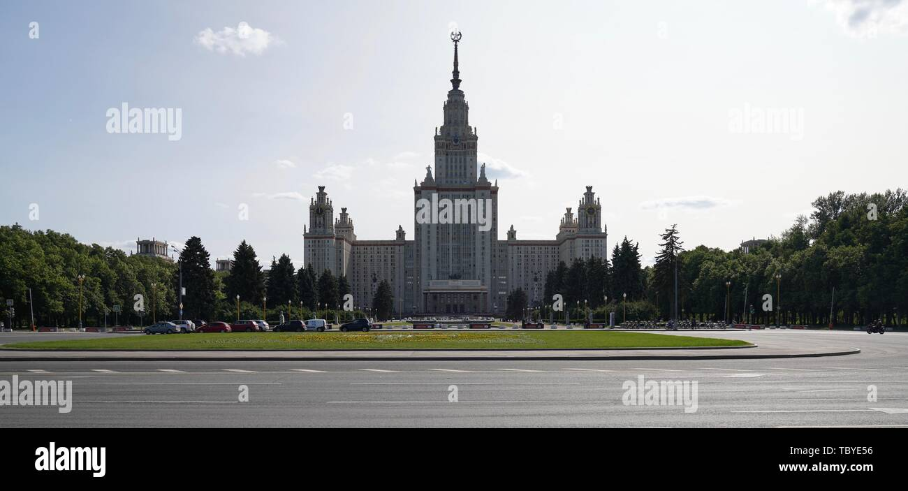 Moscow. 3rd June, 2019. Photo taken on June 3, 2019 shows the Moscow State University in Moscow, capital of Russia. Chinese President Xi Jinping will pay a state visit to Russia from June 5 to 7 at the invitation of Russian President Vladimir Putin, a Chinese Foreign Ministry spokesperson announced on Wednesday at a press briefing. Xi will also attend the 23rd St. Petersburg International Economic Forum during his stay, according to spokesperson Lu Kang. Credit: Bi Xiaoyang/Xinhua/Alamy Live News - Stock Image
