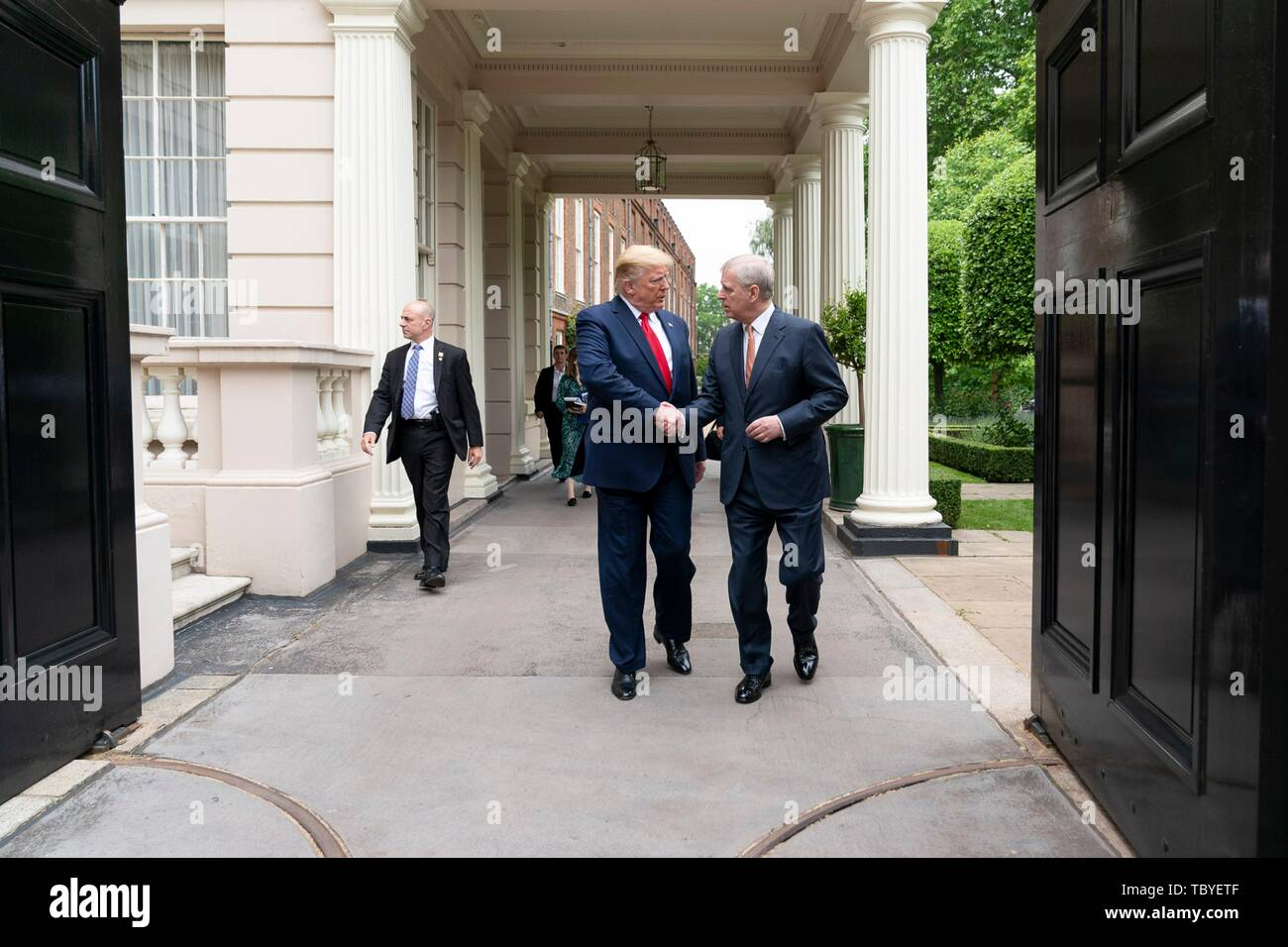 London, UK. 04th June, 2019. U.S President Donald Trump is met by His Royal Highness Prince Andrew outside St. James's Palace on his way to No. 10 Downing Street June 4, 2019 in London, England. Credit: Planetpix/Alamy Live News - Stock Image